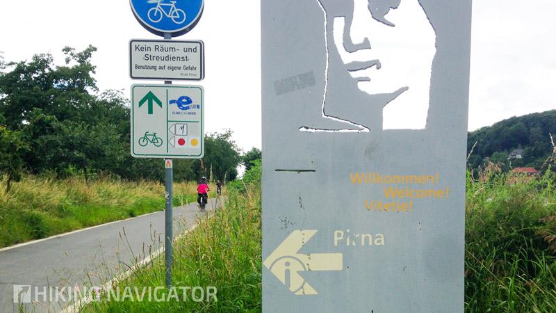 Auf dem Elberadweg kurz vor Pirna