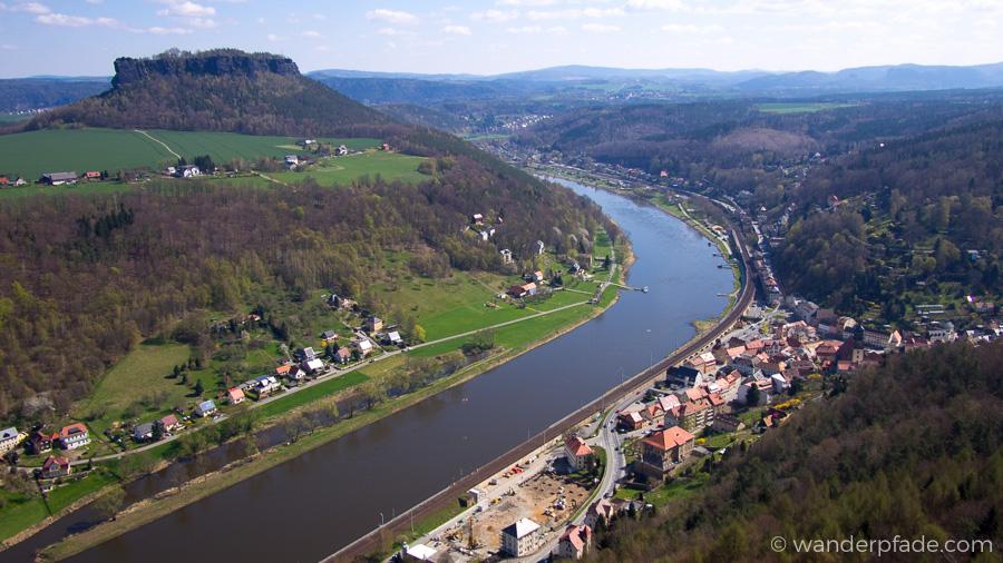 Blick von der Festung Königstein auf die Elbe